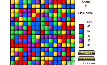 لعبة هدم المكعبات الملونة المتشابهة