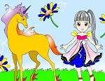 لعبة تلوين الطفلة و الحصان