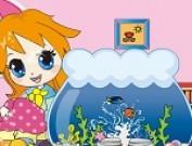 لعبة الفتاة الثرثارة وحوض السمك