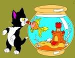لعبة تلوين القط والسمكة