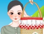 لعبة تلبيس ملابس مع حقائب القش